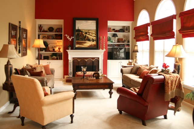 Injecting excitement, by using a strong red hue on the accent wall.