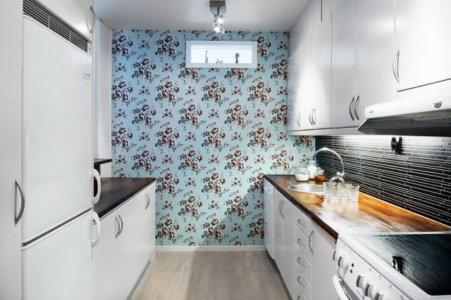 Wallpaper in White Kitchen