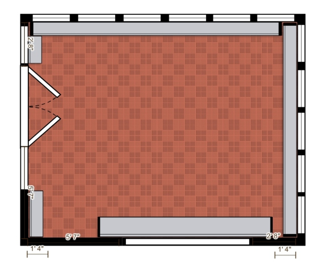 My scale rendering of the sunroom floor plan.  Let the designing begin!
