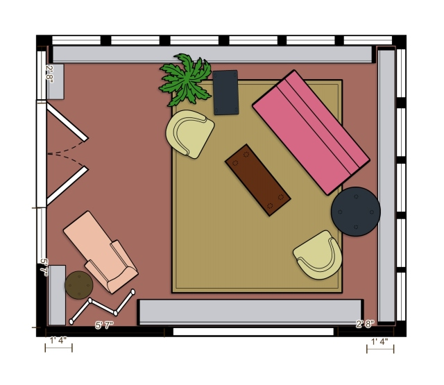 Turning the main furniture grouping on the diagonal allows the center of the room to feel more open, and the settee to welcome visitors into the space.  The Duchesse Brisee is placed in its own corner, for optimal viewing of the pond outside.