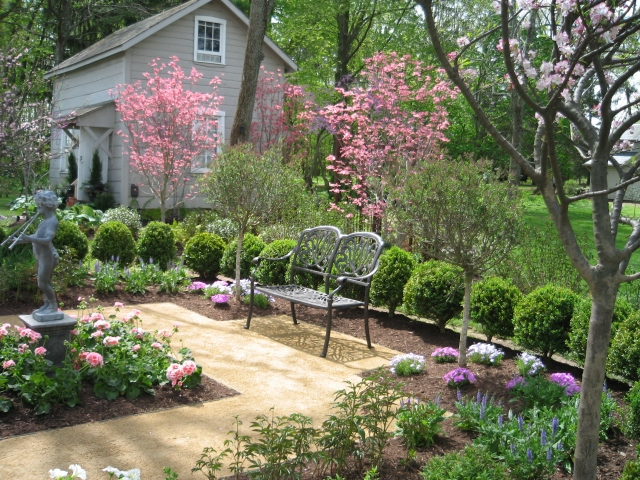 A beautiful garden setting at a past Bucks County Designer House.