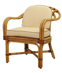 An image of a Vintage Rattan Chair.  I have a similar pair I'd like to use in my Sunroom.