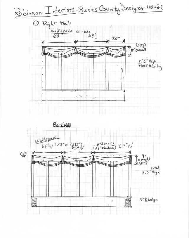 "These are workroom specifications for my Bucks County Designer House Sunroom valances.  They will have a very loose, unstructured feel.  A sparkly, starburst medallion with a tassel will be applied at each pleat, and beautiful velvet ribbon with salmon gimp/braid will be applied 1"" up from the hem."