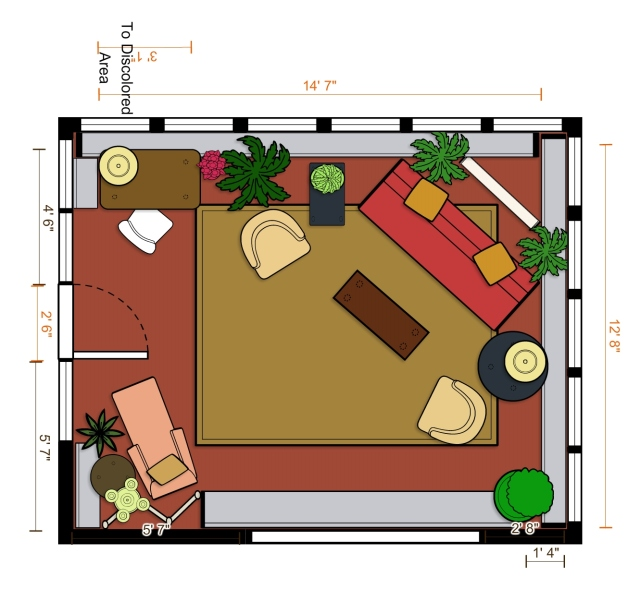 The most recent update to my floor plan includes a small Victorian Desk and Chair, with the Duchesse Brisee in one corner, angled to address the main seating area in the far right corner.