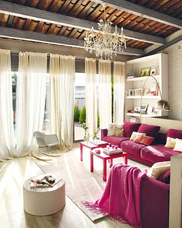 This sunroom I found on Pinterest has beautiful gauzy draperies...I love the romantic feel!