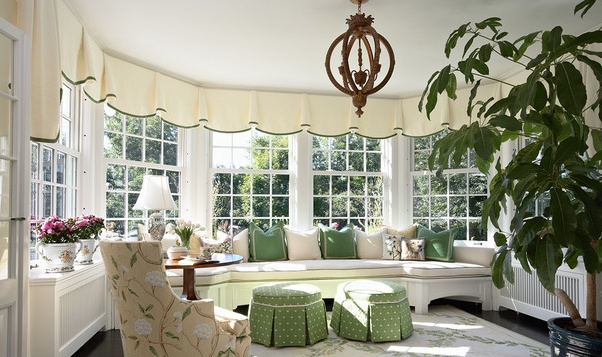 These ivory valances with green banding are so pretty and elegant in this sunroom.  I'm thinking of doing something similar in my designer house sunroom.