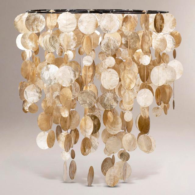 A cascading capiz shell light fixture will be front and center in my Bucks County Designer House Sunroom.