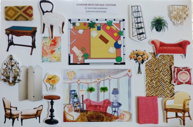 My designer's inspiration board for the 2014 Bucks County Designer House Sunroom.  This helps others visualize my plans for the space.