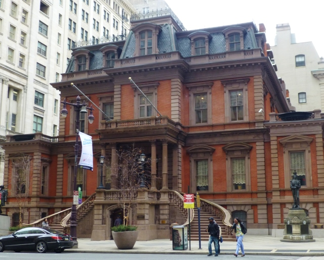 The glorious façade of the Union League with dramatic twin circular staircases is on Broad Street in Philadelphia