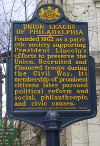 The Historic Marker in front of The Union League explains its importance to our American Heritage