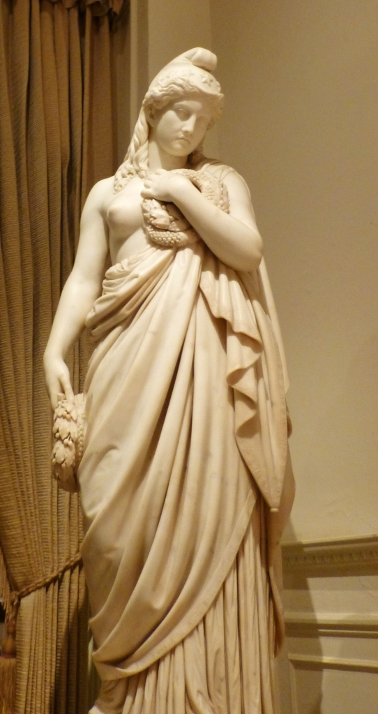 An amazing carved marble statue in the main hallway at The Union League.  The draping of the fabric was so realistic!