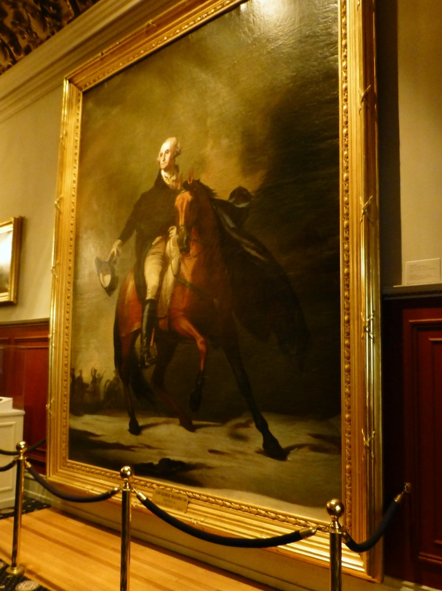 A GIANT painting of George Washington graces the upstairs hall landing.  The frame is so beautiful!