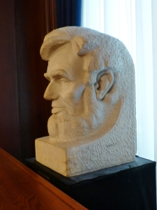 One of many carvings, busts, and statues of Abraham Lincoln.  This one was rather unusual.