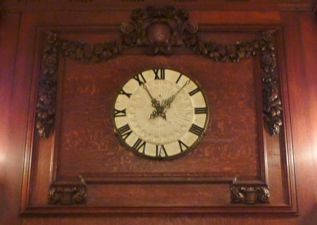 I loved this glorious clock set into the paneled fireplace surround in one of the ballrooms.