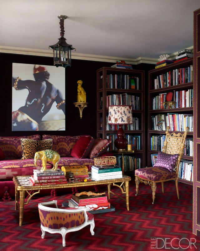 Another A-list designer, Alex Papachristidis, uses an exotic mix of antiques, pattern and bold color in his own home.