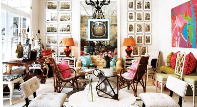A wonderfully collected eclectic and colorful room by Todd Alexander Romano found on Pinterest.