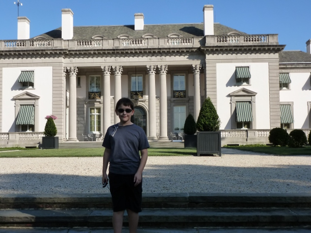 My son, Grady, in front of Nemours: the Dupont Mansion in Delaware.  Just one of the fabulous historic sites we've visited together.