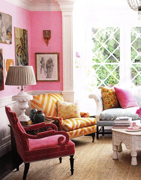 A very bold color scheme is used here by Windsor Smith, using Vintage, Antiques, and Ethnic pieces.
