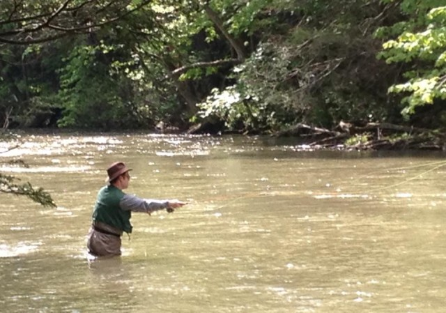 The real reason for our trip to Bedford was fly fishing.  This is a photo (taken by a friend) of my husband enjoying the moment.  Unfortunately the streams were a bit swollen from spring rain.  But we still had a wonderful mini-vacation!