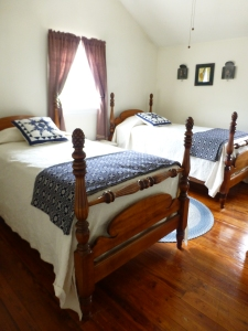 One of the comfortable guest bedrooms at Spring Meadow Farm's guest house near Bedford, PA.