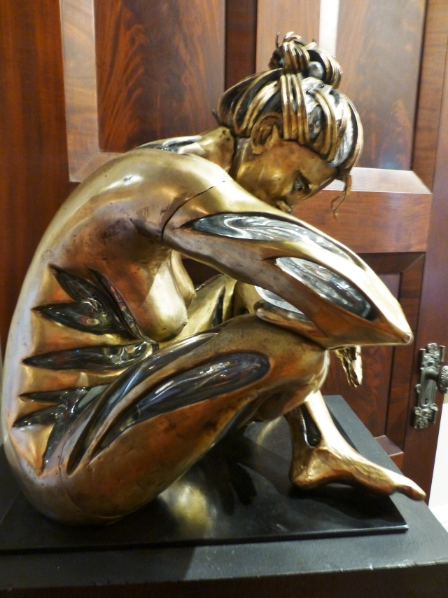 Studio 7 Fine Art Gallery, of Morristown, NJ, curated a collection of artwork and sculpture in the upstairs hallway.  This beautiful bronze nude has glass, blown from the inside...it was a true masterpiece!