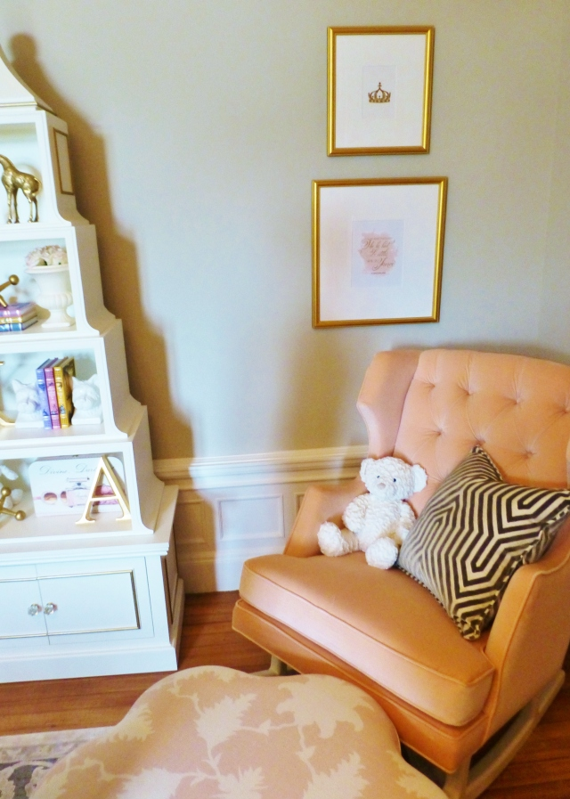 A pagoda-style bookcase adds a whimsical touch next to the fleshy pink velvet upholstered rocking chair.  The flower shaped ottoman is adorable too!