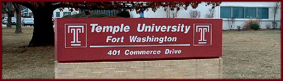 The campus of Temple University in Fort Washington is located in an office park at the corner of Commerce and Virginia Drive in Fort Washington at 401 Commerce Drive.