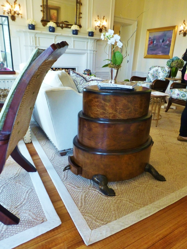 At one end of the sofa is this amazing Turtle Table.  I just LOVE this!  The table is comprised of three stacked oval drawer sections, with bronze tail, feet, and head.