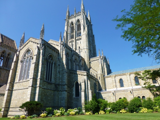 According to the Bryn Athyn Church's website, the main construction of the Cathedral took place between the years 1913 and 1928 with work on the stained glass windows and interior decoration continuing into the early 1940s and beyond. The main Cathedral building is Gothic, while the northern and southern buildings are in the early Romanesque style.