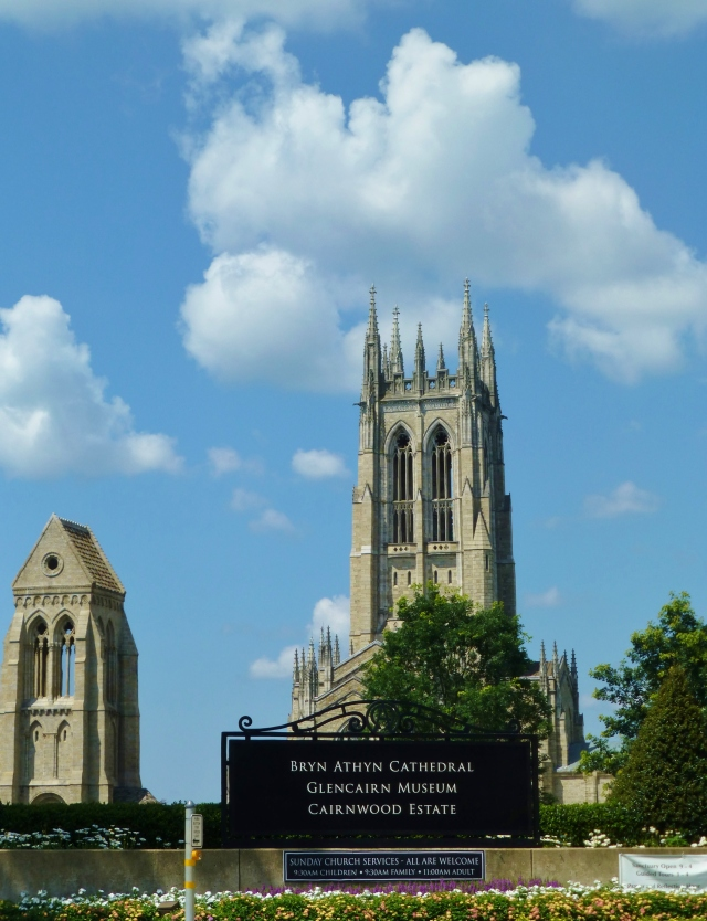The main entrance to the cathedral is found on Huntingdon Pike in Bryn Athyn, Pennsylvania.  I took this photo while sitting in my car at the stop light.