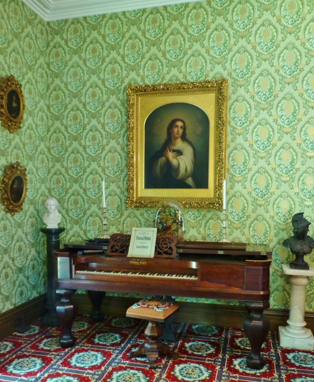 In a far corner of the parlor at the Ebenezer Maxwell Mansion is a Thomas Loud piano.  Loud Brothers was a very early Piano Manufacturing Company based in Philadelphia, PA, which went out of business in 1837. Loud Brothers instruments are exceedingly rare and of museum caliber today. By the way, don't you just love the twirly needlepoint-covered piano stool?  I have 2 of these in my own collection--they're so quirky and fun!