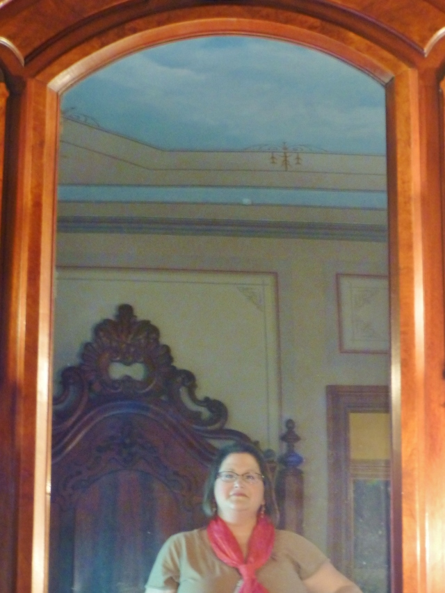 I thought I'd leave you with this 'selfie' of me inside the Ebenezer Maxwell mansion...just a little taste until next time, when I get to show you the lovely interiors of this Victorian home.  I'm honored to have been invited to photograph the inside, since that is normally not allowed!   Plus, there are just so many wonderful Victorian furnishings I can't wait to show you!