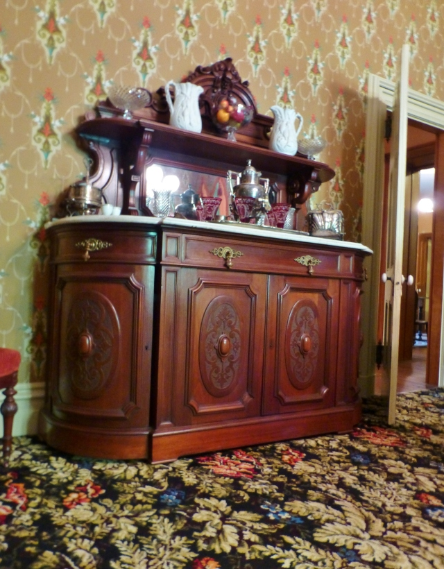 The Renaissance Revival buffet in the dining room is a stunning example of high Victorian furniture, and is one of the museums most prized possessions.