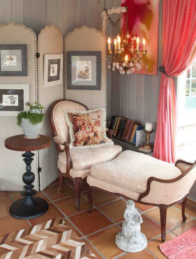 A linen-covered screen anchors this back corner (and covers up bulky existing wires, left by the homeowners).  The oldest item in the room is this 18th century Duchesse Brisee, paired with a modern metal base end table.  A 1960s vintage chandelier provides light for relaxed reading while lounging and taking in views of the pond outside the windows.