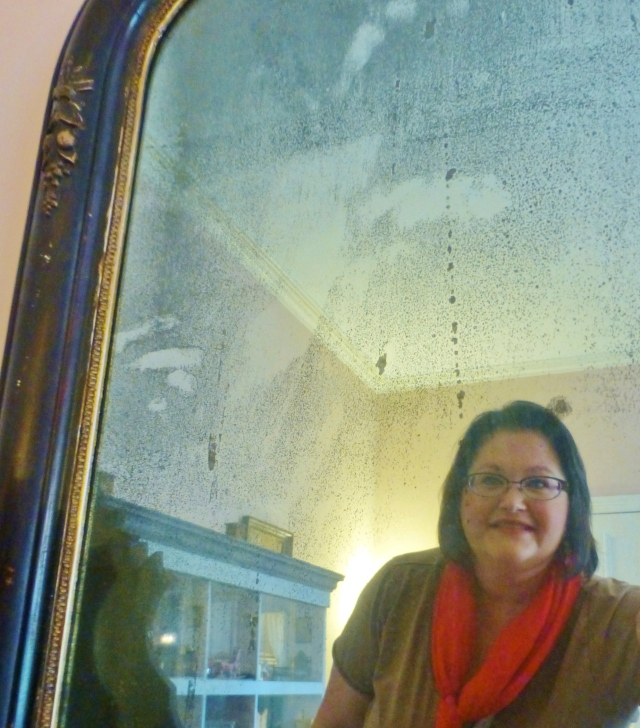 I'll leave you with this selfie of me in the Children's Bedroom at the Ebenezer Maxwell Mansion.  You can see the dollhouse behind me in the wonderful pitted and pock-marked antique mirror.