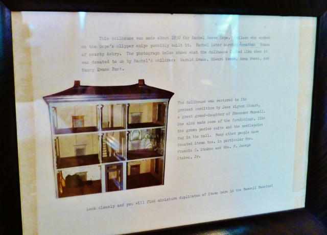 Framed on the bedroom wall is some info about the dollhouse, which was restored by a great grand-daughter of Ebenezer Maxwell and contains donations from many sources.   There are even miniature reproductions of actual pieces from the Ebenezer Maxwell Mansion inside the dollhouse!