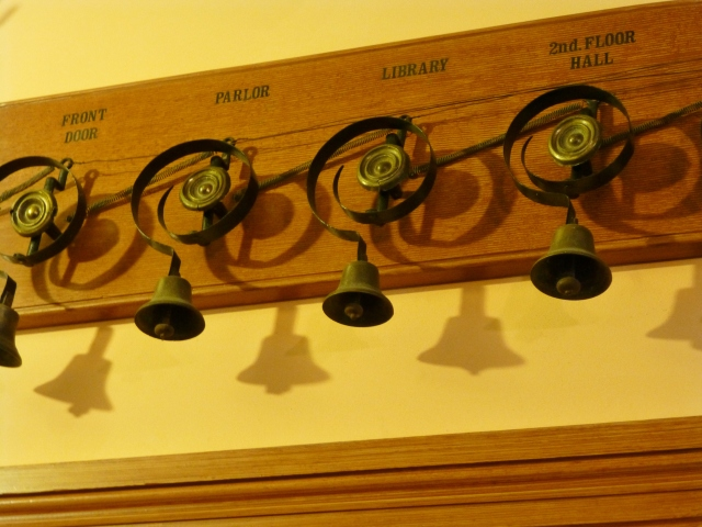 Each bell has an area labeled, so the servants could see the room from which the call was being made.