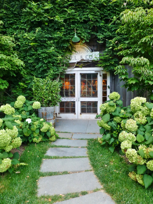 The rear entry of a Ralph Lauren store in the Hamptons.  It's so inviting with trailing greenery and lush plantings of Hydrangeas!