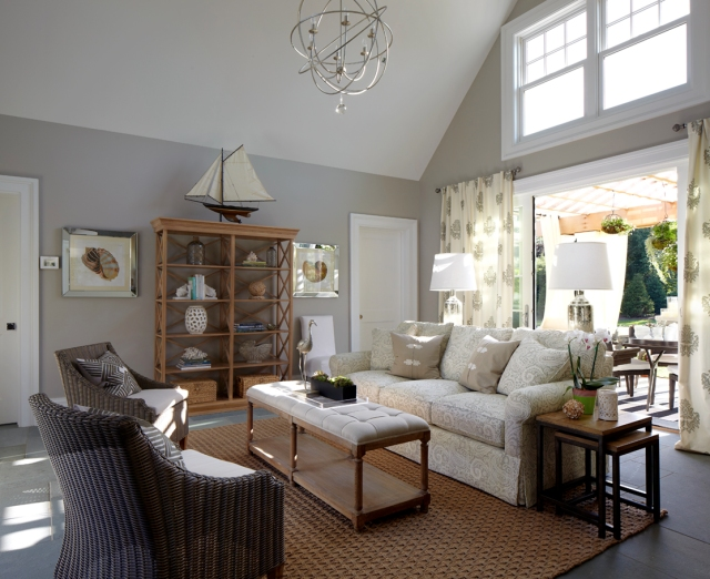 This image is from an article on 'The Editor at Large' blog, which also has a photo tour of the 2014 Hampton Designer Showhouse.  This image gives a wonderful sense of the entire space and the architecture of the main room.  Click on the image to be taken directly to the article.