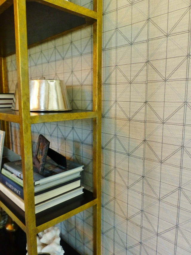 This image shows the absolutely gorgeous grasscloth wallcovering with its geometric embroidery.  The embroidered threads are in two colors and provide amazing texture for to the walls!