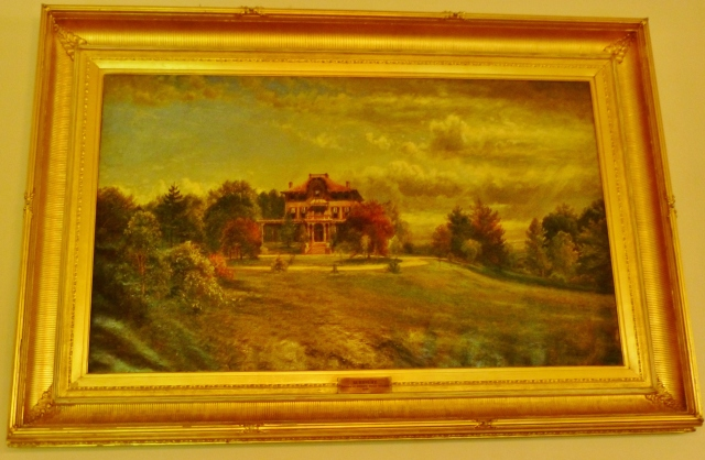 The museum owns an oil painting of the property, which shows the house and grounds many years ago.  As you can see it sits atop a lovely hill, surrounded by trees which were mature even back then.