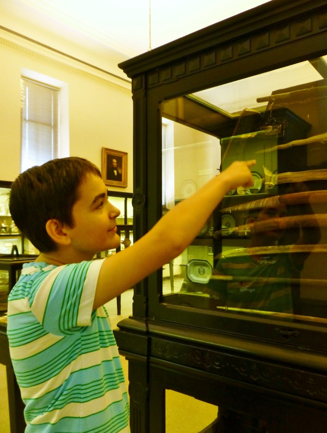 Grady, like most boys, especially enjoyed perusing some of the ancient weaponry on display.