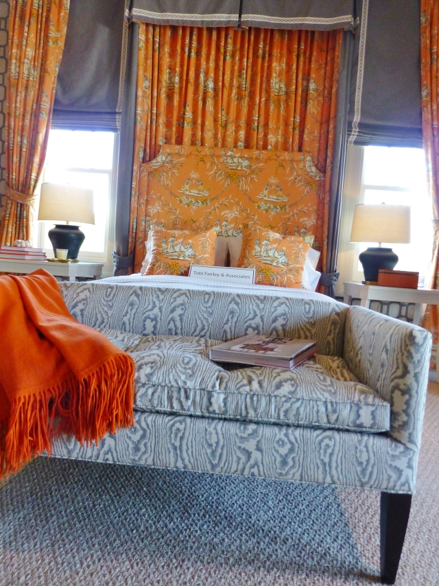 Before we turn around and look at the sitting area, check out the beautiful bench at the foot of the bed.  It's covered in an amazing grey and white faux-bois (wood grain) fabric.  I just adore this!  And the comfy orange throw just completes the look.