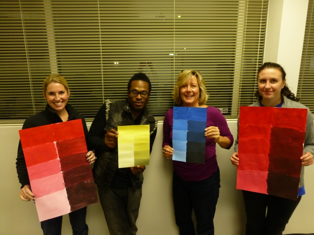 During 'The Effective Use of Color' class, we do some hands-on activities with mixing paint colors.