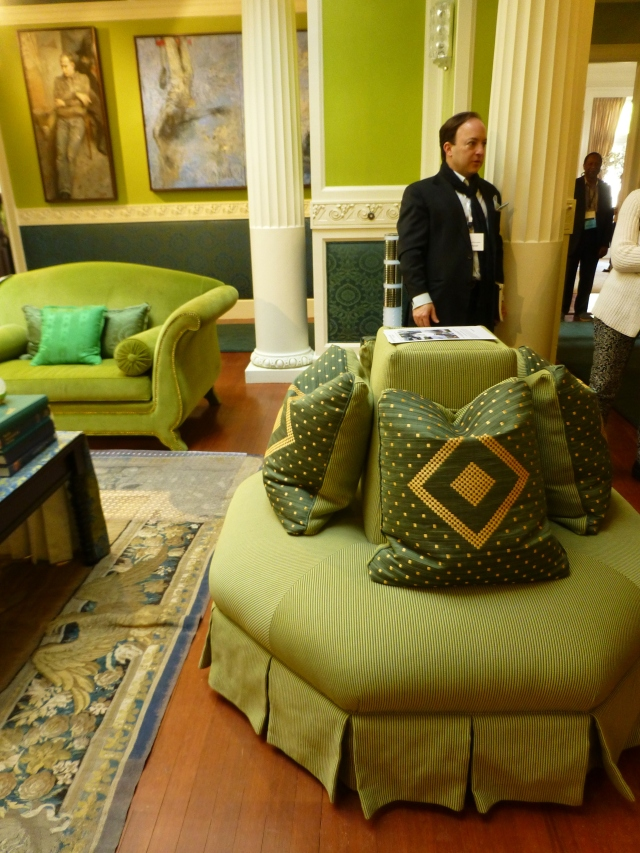 A stunning octagonal round-a-bout was used at one end of the room.   Placed upon the luxurious seat are pillows crafted from green horsehair fabric.  Many passerby would not even recognize this precious fabric, which is woven from the main and tail hair of horses.  Horsehair fabric is usually in the $300 and up price-range.