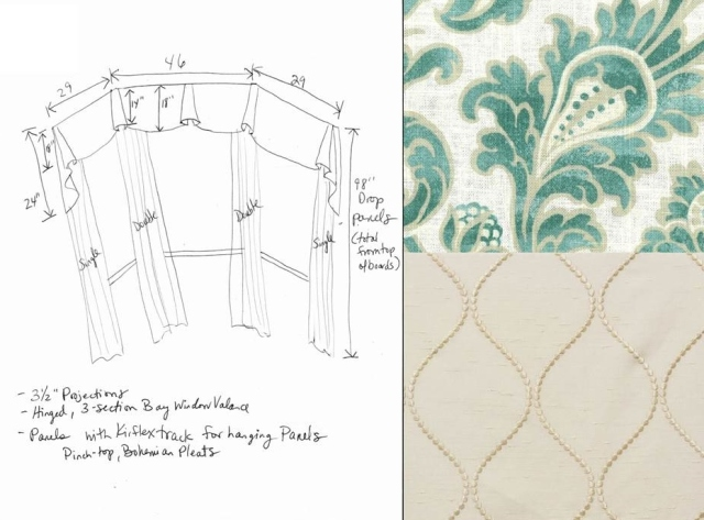 Fabrics selected were lighter and more updated in their color palette.  My sketch of the window treatment design shows full length panels in a wispy light fabric, and less cumbersome valances with a more tailored vibe.