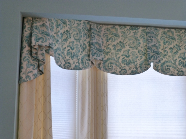 A closeup of the very pretty window treatments in my client's updated dining room.