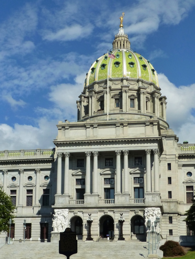 The Pennsylvania State Capitol's five-story exterior is faced with handsome Vermont granite, and the roof is composed of green glazed terra cotta tile.  We were there on a gorgeous October day!