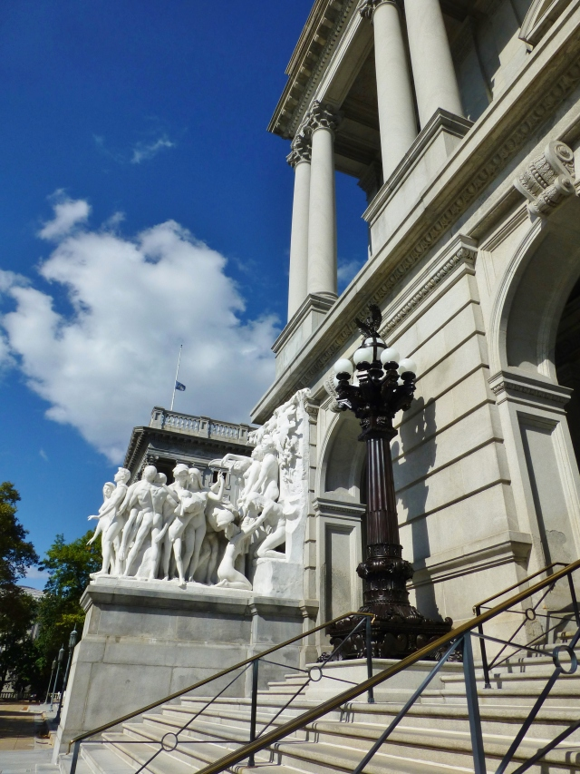 A detail of the amazing carved marble statues that flank the front entrance to the capitol building in Harrisburg, PA.