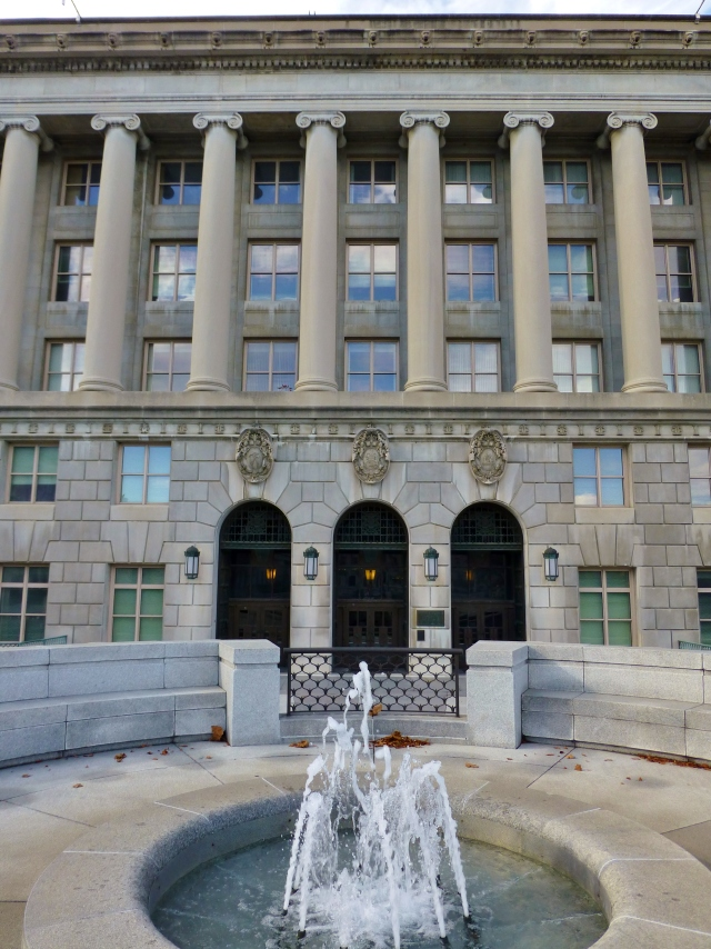 One of the many smaller fountains surrounding the exterior of the Pennsylvania State Capitol Building.  I love the Grecian forms used throughout the complex!
